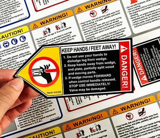 伐木机头不干胶警示标签